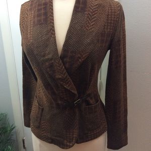 Lauren Ralph Lauren Plaid Sweater Jacket Wrapped S